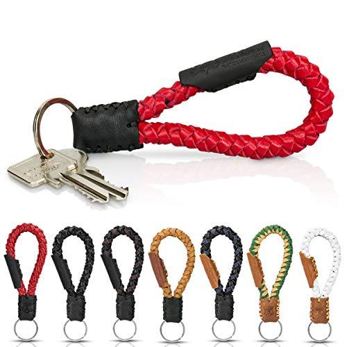 Schlüsselanhänger aus Echt-Leder in Fair-Trade Handarbeit hergestellt. Geflochtenes Schlüsselband/Lanyard- Krabi, in vielen Farben, Unisex für Damen & Herren (Rot & Schwarz)