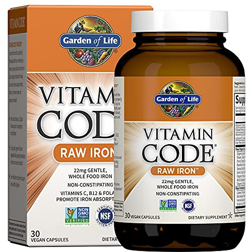 Garden of Life Vitamin Code Raw Iron Supplement, 22mg Once Daily Iron, Vitamins C, B12, Folate, Fruit, Veggies & Probiotics, Iron Supplements for Women, Energy & Anemia Support, 30 Vegan Capsules