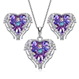 House of Louisa Damen Schmuckset Halskette und Ohrringe Silber 925 Engelsflügel Herz Anhänger Kristall von Swarovski, Farbe:silber/lila