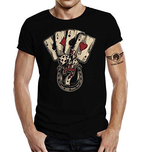 Camiseta para jugadores en diseño de dados y cartas de póker Negro M