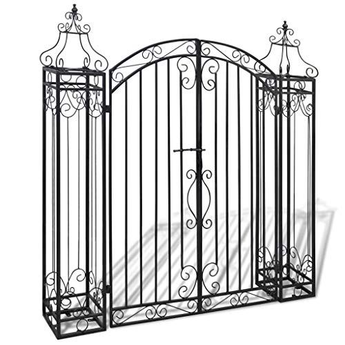 Outdoor Black Ornamental Garden Gate, Entry Gates Driveway Cottage Gate Wrought Iron Driveway Security Gate with Gate Patio Backyard Door, 4'x8 x4' 5'(L x W x H)
