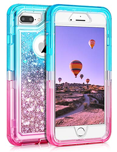 Coolden Case for iPhone 8 Plus Case Protective Glitter Case for Women Girls Cute Bling Sparkle 3D Quicksand Heavy Duty Hard Shell Shockproof TPU Case for iPhone 6s Plus 7 Plus 8 Plus, Aqua Pink