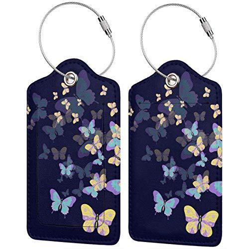 Kleurrijke Kitten Vlieg Kleurrijke Vlinders Lage Tags Tas PU Lederen Koffer Labels Ontwerp Reizen met Terug Privacy Cover W/Staal Loops