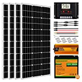 ECO-WORTHY 400W 24V Solar Power System for RV Off Grid 1.6KWH Solar Panel Kit with Battery and Inverter: 400W Solar Panels + 60A Charge Controller + 4pcs 30Ah Lithium Battery + 1500W Solar Inverter
