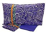 Bassetti Op Art D1 - Juego de funda nórdica para cama individual de 1 plaza de algodón puro con sistema de vestir, saco + sábana bajera ajustable + funda de almohada