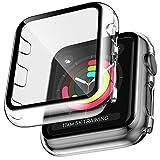 LK Compatible avec Apple Watch Series 3 Series 2 Series 1 38mm Protection écran, 2 Pièces,Verre Trempé et PC Coque, Protection Écran de Coque