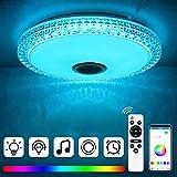 Houkiper 72W Plafoniera Led Soffitto Musicale con Altoparlante Bluetooth, Cambio Colore RGB 6000LM, Luce Tonda da Incasso ,Plafoniera a LED per Interni, Cucina, Camera da Letto