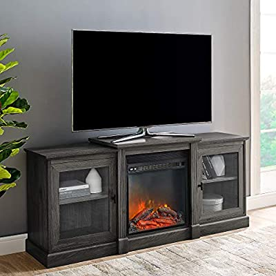 """Walker Edison Modern Wood Fireplace Stand with Cabinet Doors and Drawers 65"""" Flat Screen Universal TV Console Living Room Storage Shelves Entertainment Center, 60 Inch, Slate Grey"""