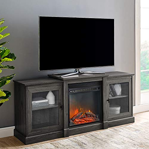 Walker Edison Furniture Company Modern Wood Fireplace Stand with Cabinet Doors and Drawers 65' Flat Screen Universal TV Console Living Room Storage Shelves Entertainment Center, 60 Inch, Slate Grey