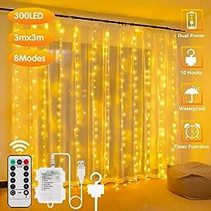 300LED Cortina de Luces – 3x3m, USB con Control Remoto Impermeable Luz Cadena Navidad, 8 Modos de Luces, Resistente al aguapara para Decoración Ventana, interiores, Navidad, Fiestas (Blanco cálido)