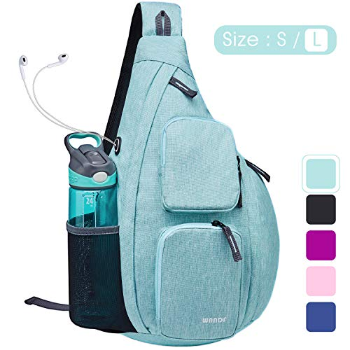 WANDF Sling Bag One Strap Backpack Travel Crossbody Backpack Water-resistant (L-Mint Green Denim, Large)