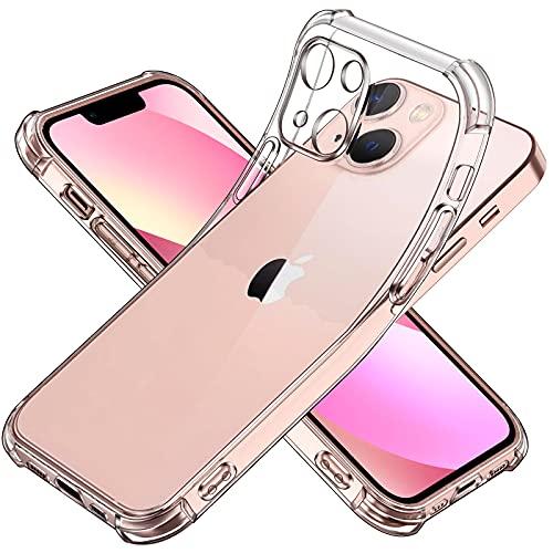 ivoler Funda Compatible con iPhone 13 Mini con Protección de La Cámara, Carcasa Protectora Antigolpes Transparente con Cojín Esquina Parachoques, Suave TPU Silicona Caso Delgada Anti-Choques Case