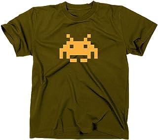 Space Invaders Retro T-Shirt, Atari, C64,eighties,nerd, olive, XL