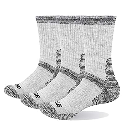 YUEDGE 3 Pairs Women's Wicking Cushion Cotton Crew Sports Athletic Hiking Socks(Grey for Women 5-9 Size)