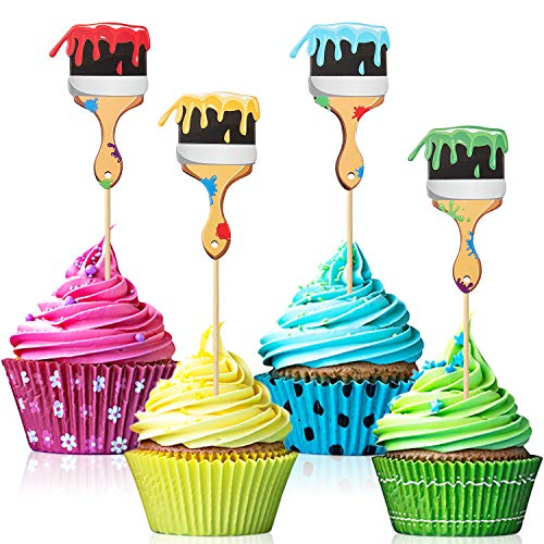 Paint Brush Cupcake Toppers Painting Party Cupcake Picks Toppers for Birthday Painting Graffiti Party Decoration (36)
