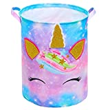 Basumee Unicorn Laundry Basket Waterproof Canvas Nursery Hamper 43.3L Rainbow Collapsible Toys Storage Bin for Kids Girls Bedroom Playroom Clothes