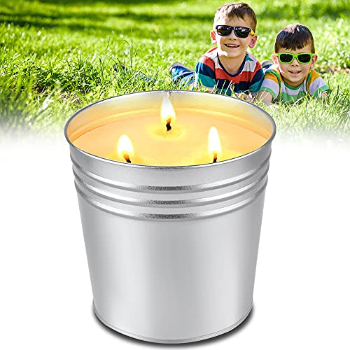 FURNIZONE Citronella Candles Outdoor Large, 100 Hours Burn, 17 oz 3-Wick Travel Camping Jar Candle, Natural Soy Wax Indoor Candles for Garden Patio Yard Home Balcony