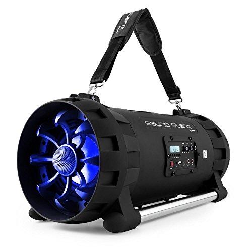 auna Soundstorm tragbarer Lautsprecher Boombox Ghettoblaster (Bluetooth- / NFC-Schnittstelle, MP3-fähiger USB-Port, UKW Radio, AUX-Eingang, LCD-Display, LED-Beleuchtung, Akku-Betrieb) schwarz-blau