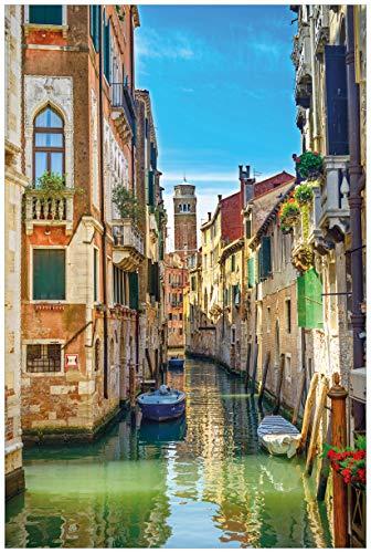 Wallario Acrylglasbild Urlaub in Venedig Kanal zwischen bunten Häusern - 60 x 90 cm in Premium-Qualität: Brillante Farben, freischwebende Optik