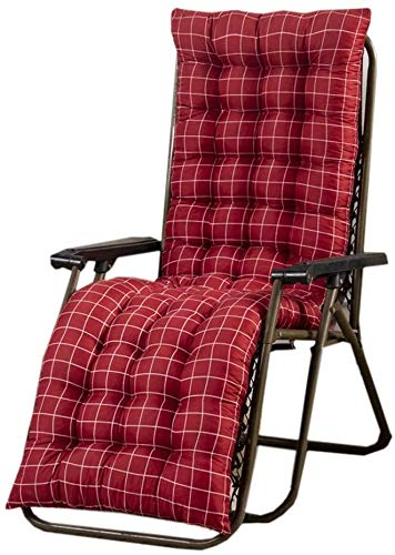 Mirui Garden Sun Lounger Cushion Thick Padded Seat Pad With Backrest Outside Patio High Back Chair Cushion Lounge Recliner Relaxer Cushion (Color : Red Grid, Size : 120x48cm)
