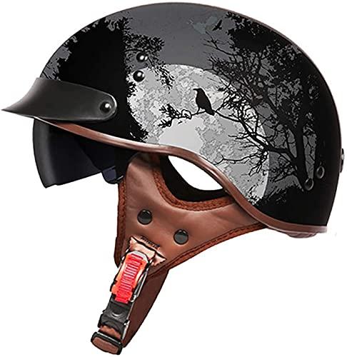 Casco De Motocicleta Con Visera,Casco Jet Para Moto Vintage Casco Medio Certificado ECE Hombres Y Mujeres Retro Seguridad Ligera Eléctrico Medio Casco Estilo Retro ( Color : D , Size : XXL = 63cm )