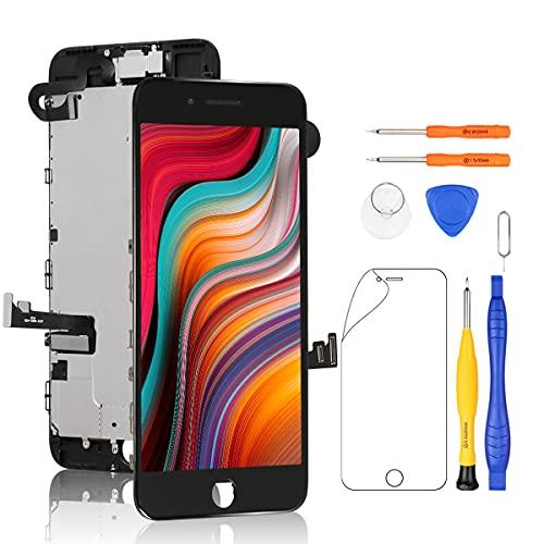 Yodoit iPhone7 Plus フロントパネル 画面 液晶 取り付け簡単化 (3Dタッチ +スピーカー +フロントカメラ + 近接センサーが含まれる) 修理交換用 LCD パネル タッチ ガラス スクリ ーン 修理パーツ デジタイザ 工具+画面保護フィルム付属 (黒 5.5インチ)