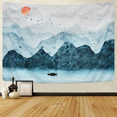 Likiyol Foggy Mountain Tapestry Sunset Birds Boat Lake Tapestry Watercolor Nature Landscape Tapestries Wall Hanging for Room (Grey, 51.2 x 59.1 inches)
