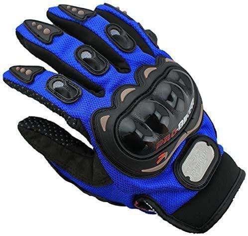 OUTLETISSIMO Guantes de moto unisex con protecciones para nudillos para moto, motocross, enduro, azul, talla XL