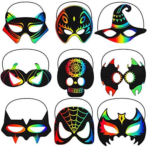 36 Pieces Halloween Scratch Masks Rainbow Scratch Paper Art Mask Skeleton Cat Witch Pumpkin Bat Mask Decorations for Halloween Party...