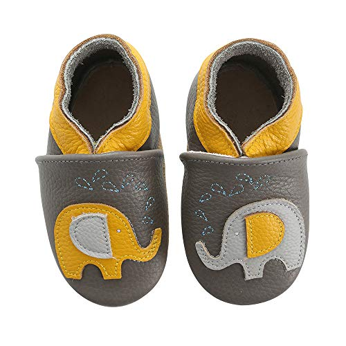 koshine Weiches Leder Krabbelschuhe Baby Schuhe Kinder Lauflernschuhe Hausschuhe 0-3 Jahre (12-18 Monate, Elefant)