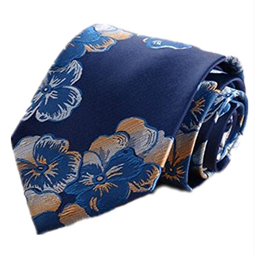 Corbata de Hombre Corbata Tie Clip Traje Joker Hombre Azul Amarillo patrón de Flores Decorativo Hunting Ground Pajarita Conjunto de Seis Piezas Set Corbata de Caballero