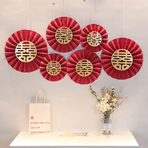 XKMY Decoración para el hogar, color rojo, decoración de papel para bodas, felicidades, bodas, día de San Valentín, fiestas, decoración de pared, color E)