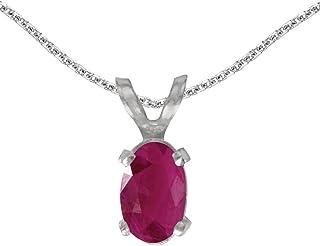 Jewels By Lux 14k White Gold Genuine Birthstone Oval Gemstone Pendant (0.47 Cttw.)