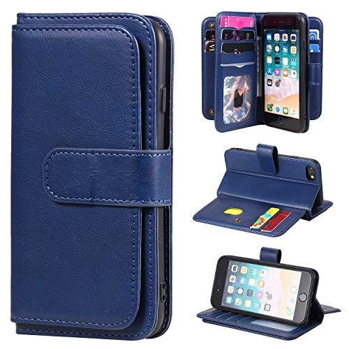 SevenPanda Brieftasche Hülle für iPhone SE 2020, für iPhone 8 iPhone 7 6 6S Hülle, [10 Kartensteckplätze] PU Leder Kreditnehmer Folio Flip Multifunktional Ständer Magnetisch Abdeckung - Dunkelblau