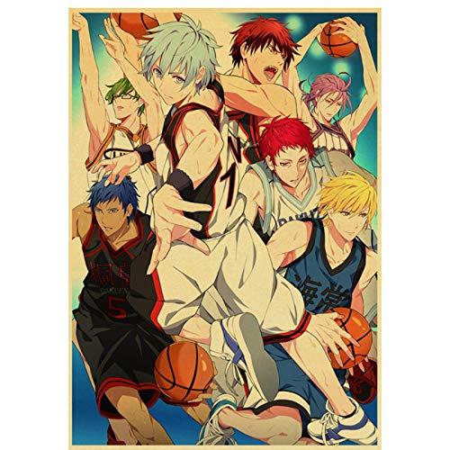 HJZBJZ Póster de Anime Kuroko's Basketballretro póster de Papel Kraft para Sala de Estar decoración de Bar Pegatinas de pared-20X30 Pulgadas sin Marco 1 Uds
