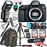 Canon EOS 6D Mark II DSLR Camera (Body Only) Bundle Includes 2X 128GB Memory, TTL Auto Flash, Canon Backpack, Rode Microphone, Time Remote with LCD, Photo/Video Software Package & More (Renewed)
