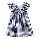 Zanie Kids Baby Girl Dress Short Sleeves A Line Clothing Newborn Summer Playwear Infant Cotton Cute Woven Clothes, Blue Gingham, 6-7 Years