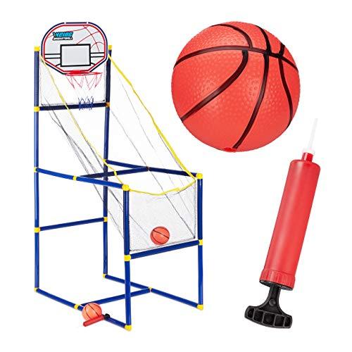 Relaxdays Arcade Basketball im Set, Basketballkorb fürs Zimmer mit 2 Bällen, Spaß für Kinder HxBxT: 148 x 45 x 88 cm, Bunt