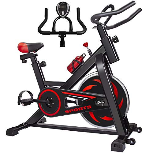 Exercise Bike FutureCharger Belt Drive Indoor Cycling Bike Stationary - Bikes Spin Bike Fitness Bike Workout Bike with Soft Seat Cushion, Water Holder, LCD Monitor for Gym Home Cardio Workout Training