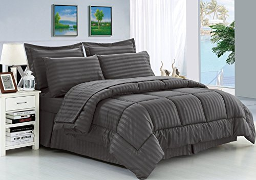Elegant Comfort® Wrinkle Resistant - Silky Soft Dobby Stripe Bed-in-a-Bag 8-Piece Comforter Set - King Grey