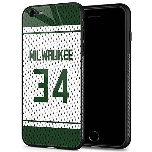 ANLUN STORE iPhone 6 Cases, Tempered Glass iPhone 6S Case Antetokounmpo Pattern Design Black Cover Sport Case for iPhone 6/6S 4.7-inch Milwaukee #34