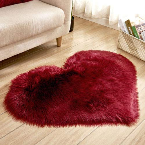 Premium Soft Heart Sahpe Faux Fur Sheepskin Seat Cushion Chair Cover Plush Area Rugs for Bedroom (Red, 4050)