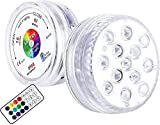 LOFTEK Submersible LED Lights with Remote (RF), 13 LED Waterproof Underwater Led Lights Extra Bright, Battery Operated Decoration Light for Vase Pool,Pond,Centerpiece,Foundation(2 Packs)