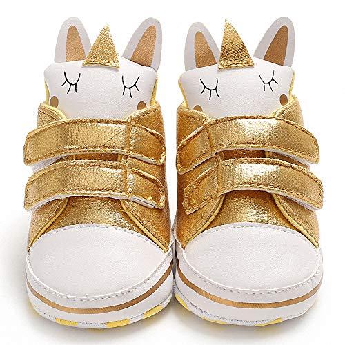 Wide.ling Babyschuhe Kleinkind Baby Mode Sneakers süßes Einhorn Kind Beiläufig Krippe Schuhe (12-18 Monate, Gold)