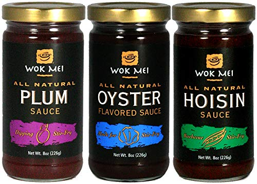 Wok Mei Variety Set of 3 - Oyster, Hoisin and Plum Sauce - 8oz Jars