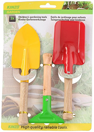 3 tlg. Gartenset - Schaufel - Rechen - Spaten - aus Holz und Metall - für Kinder und Erwachsene - Gartengeräte , Sandkastenspielzeug, Gartenwerkzeug - stabile Gartengerät