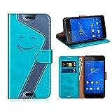 MOBESV Smiley Funda Cartera Sony Xperia Z3 Magnético, Funda Cuero Movil Sony Xperia Z3 Carcasa Case con Billetera/Soporte para Sony Xperia Z3, Aqua/Azul Oscuro