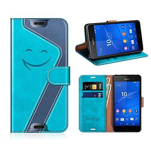 MOBESV Smiley Sony Xperia Z3 Hülle Leder, Sony Xperia Z3 Tasche Lederhülle/Wallet Case/Ledertasche Handyhülle/Schutzhülle für Sony Xperia Z3, Aqua/Dunkel Blau
