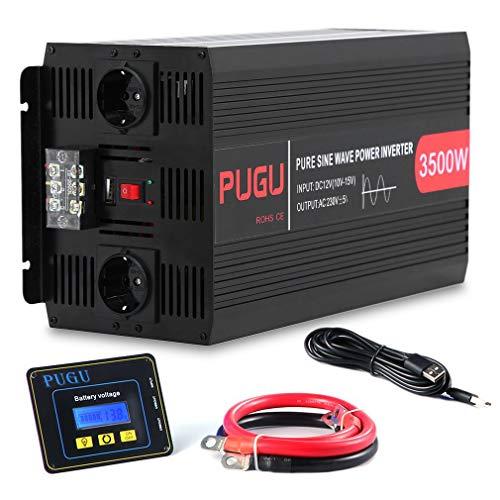 FVE 3500W/7000W Wechselrichter Reiner Sinus Spannungswandler 12V auf 230V Sine Wave Power Inverter Umwandler für Auto KFZ, mit 2 EU Steckdose und USB-Port