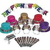Silvester Partybox Happy New Year für 10 Personen - 22 Teile - Partyhüte, Tiaras, Tröten, Banner...